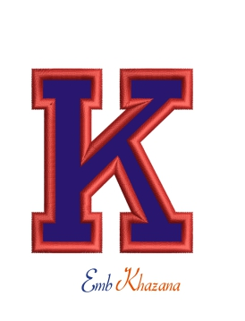 Collegiate Letter K Applique