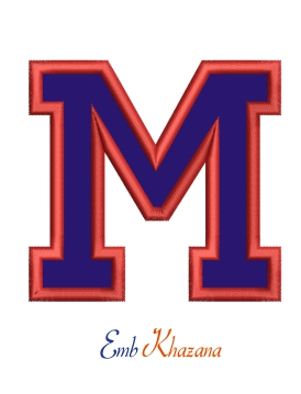 Collegiate Letter M Applique