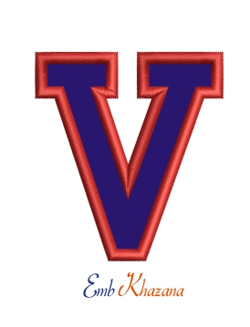 Collegiate Letter V Applique