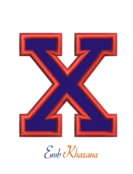 Collegiate Letter X Applique