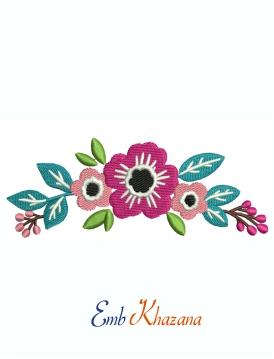 Colourful Flower And Leaf Machine Embroidery Design