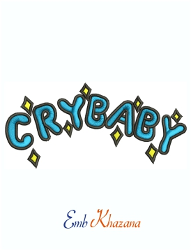 Cry Baby machine embroidery design