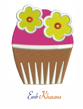 Cup Cake With Flower Design