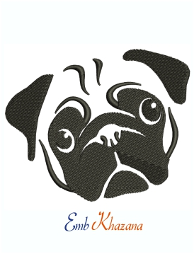 Cute Pug Face Machine Embroidery Design
