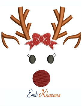 Cute Reindeer Girl Machine Embroidery Design