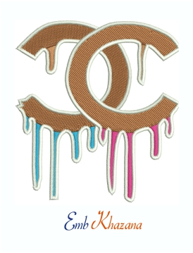 Chanel Dropping Logo Machine Embroidery Design