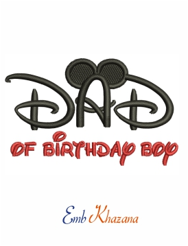 Dad of birthday boy with mouse ears