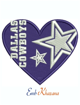 Dallas Cowboys Heart Logo Machine Embroidery Design