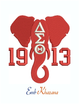 Delta Sigma Theta 1913 Elephant Head Machine Embroidery Design