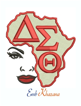 Delta Sigma Theta AEO Africa Machine Embroidery Design