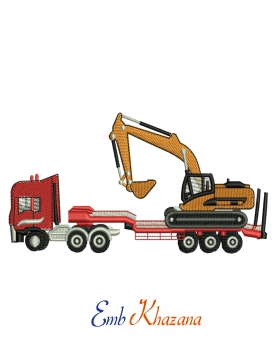 Digger on lorry  embroidery design