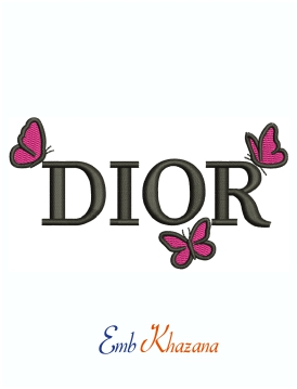 Dior Butterfly Logo Machine Embroidery Design