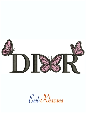 Butterfly Dior Logo Embroidery Design