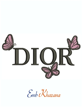 Dior Cute Butterfly Logo Embroidery Design