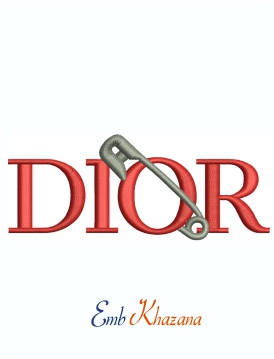 Dior Pin And Brooch Logo Machine Embroidery Design
