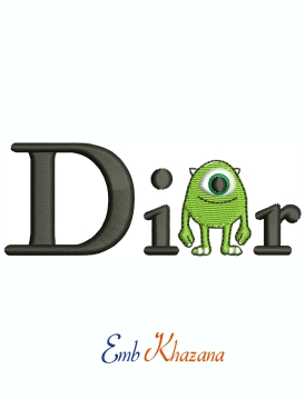 Dior Mike Wazowski Machine Embroidery Design