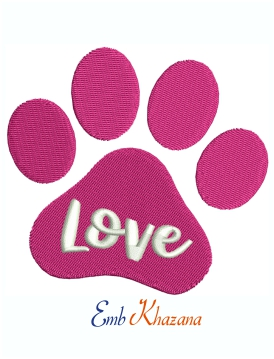 Dog Paw Love Machine Embroidery Design