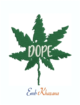 Dope Marijuana Leaf Machine Embroidery Design