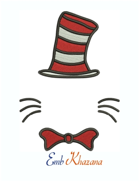 Dr Seuss Cat in The Hat Machine Embroidery Design