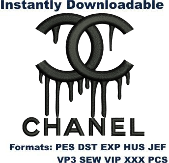 Dripping chanel logo embroidery design