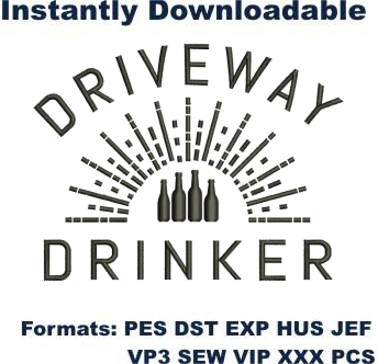 Driveway Drinker embroidery design