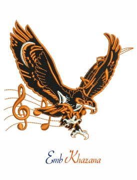 Eagle With Music Notes Embroidery Design