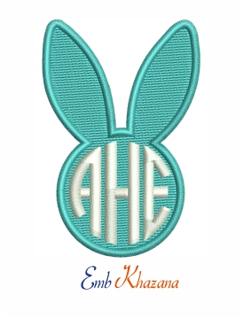 Easter Bunny Monogram embroidery design