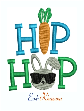 Easter Bunny Hip Hop Machine Embroidery Design
