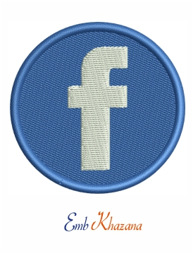 Facebook icon embroidery design