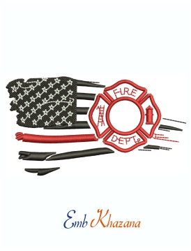 Firefighter Maltese American Flag Machine Embroidery Design