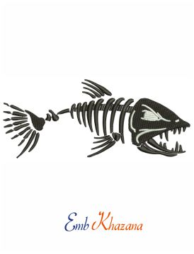 Fish skeleton embroidery design