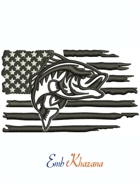 Fishing Distressed American Flag Machine Embroidery Design