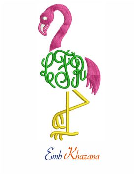 Flamingo bird monogram embroidery design