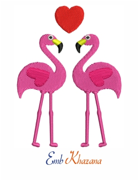 Flamingos bird loving embroidery design