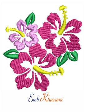 Floral Hibiscus embroidery design
