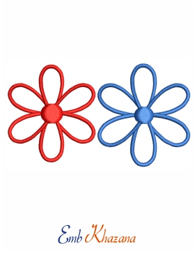 red and blue flower design