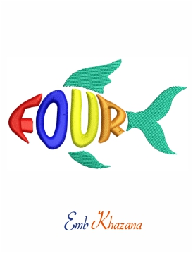 Four sign fish embroidery design