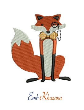 Stylish Fox Embroidery Design