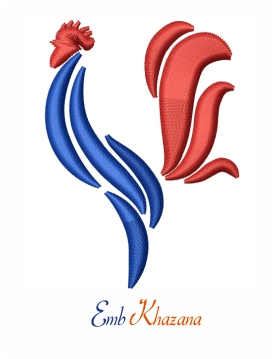 French Cock logo embroidery design