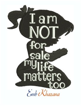 Girls i am not For Sale Machine Embroidery Design