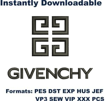 Givenchy logo embroidery design
