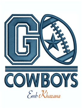 Go Cowboys Machine Embroidery Design