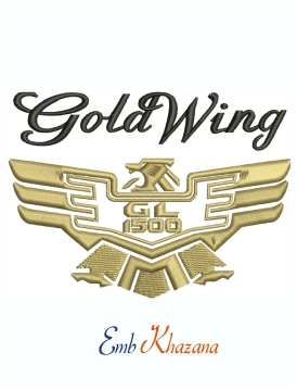 Gold wing GL 1500 logo Machine Embroidery Design