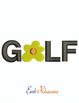 Golf Flower machine embroidery design