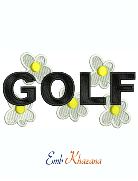 Golf Logo machine embroidery design