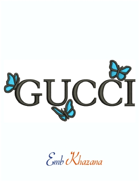 Gucci logo With Butterfly machine embroidery design