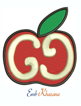 Gucci Apple Logo machine embroidery design