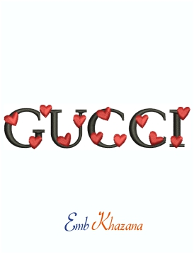 Gucci Small Hearts logo machine embroidery design