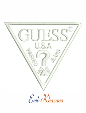 Guess logo machine embroidery design