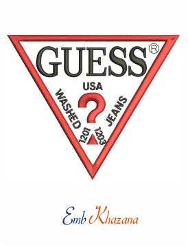 Guess logo embroidery design